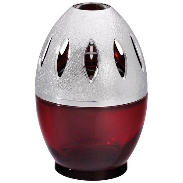 Lampe Egg bordeaux. Un design ludique Une lampe en verre dont le design arrondi est harmonieusement prolongé grâce à sa monture. Une forme rassurante pour apporter une touche cocooning à un intérieur. Monture en métal avec un jeu de texture (couleur argent brillant), développée exclusivement pour ce modèle.