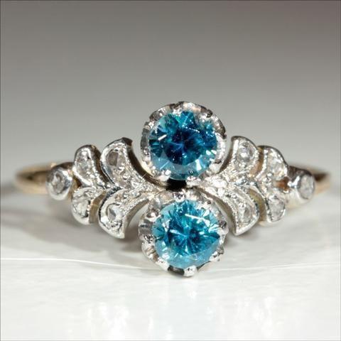 Antique 18k & Platinum Edwardian Natural Blue Zircon and Diamond Ring c.1910