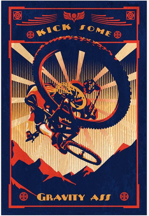 retro motivational slogan mountain bike poster print 11X16