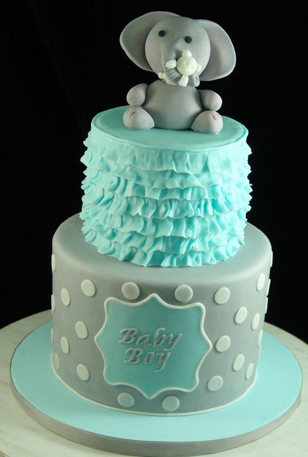 shabby chic bridal shower cakes%0A Elephant Themed Baby Shower Cake  BabyShowerCake