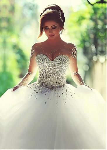 Luxurious Tulle Jewel Neckline Ball Gown Wedding Dress With Rhinestones