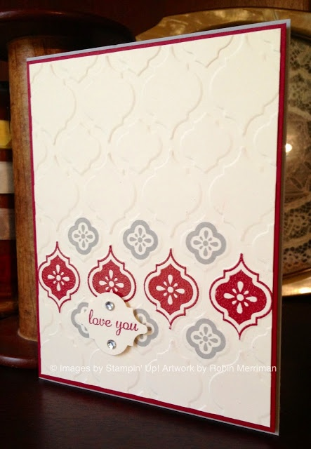 Mosaic Madness stamp set, Mosaic Embossing folder, #Cherry Cobbler embossing powder #stampinup #cleanandsimple