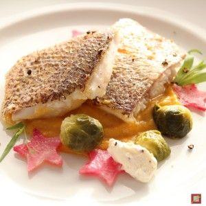 Red Snapper auf Kürbisstampf, ein wunderbares Fischrezept.