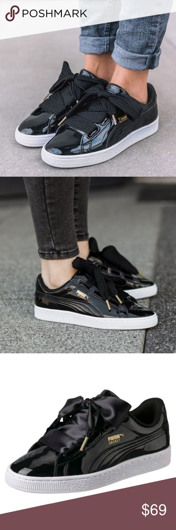 PUMA Lace-Up Sneakers NIB! In Black This PUMA Basket is returning from the 1971 archive with woven bow lacing that will make any girl's heart throb.   *Oversized lace-up fastening  *Branded tongue and cuff  *Padded for comfort  *Gold-tone logo detail  *Chunky sole  *Moulded tread   ❌NO TRADES I❤️Bundles ❤️REASONABLE OFFERS ONLY PLEASE❤️ Puma Shoes Sneakers