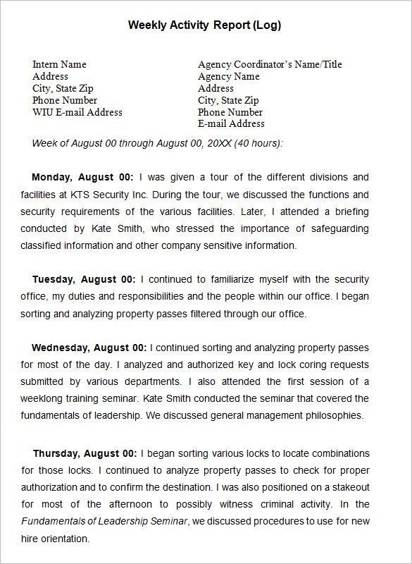 Weekly Activity Report Template u2013 23+ Free Word, Excel, PPT, PDF - weekly activity report template