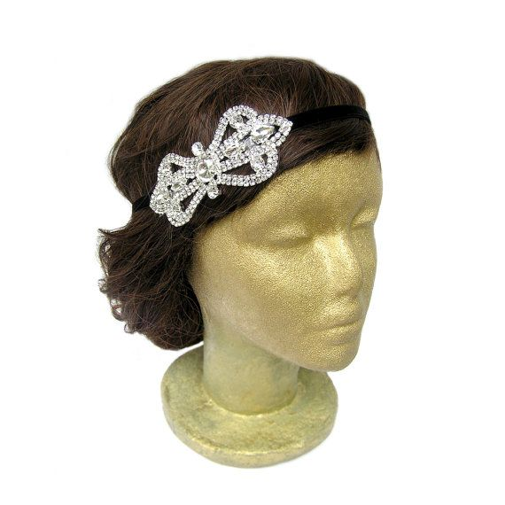 Rhinestone Bow Headband Hair Bow Headband Art Deco by curtainroad