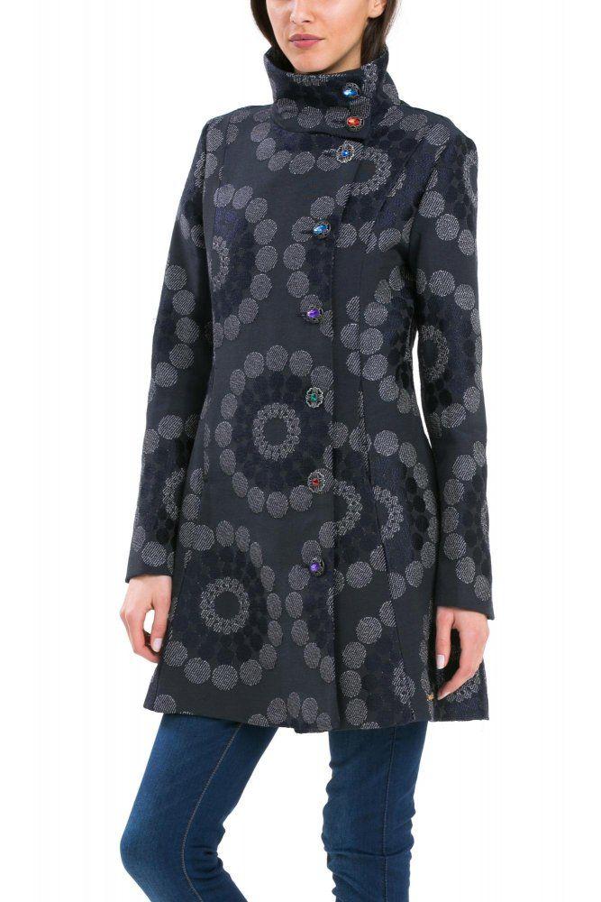 Desigual płaszcz damski niebieski | MALL.PL