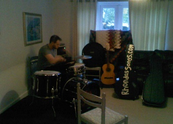 Jamming at my place. #Sam #Fuller is a #Drummer in #The #All #British #Potluck #Band. We're getting ready for the Wivenhoe Mayfair and Mersea Island Food & Leisure Festivals