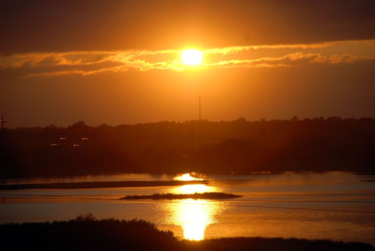 Sunset over the inter-coastal waterway on North Topsail Beach