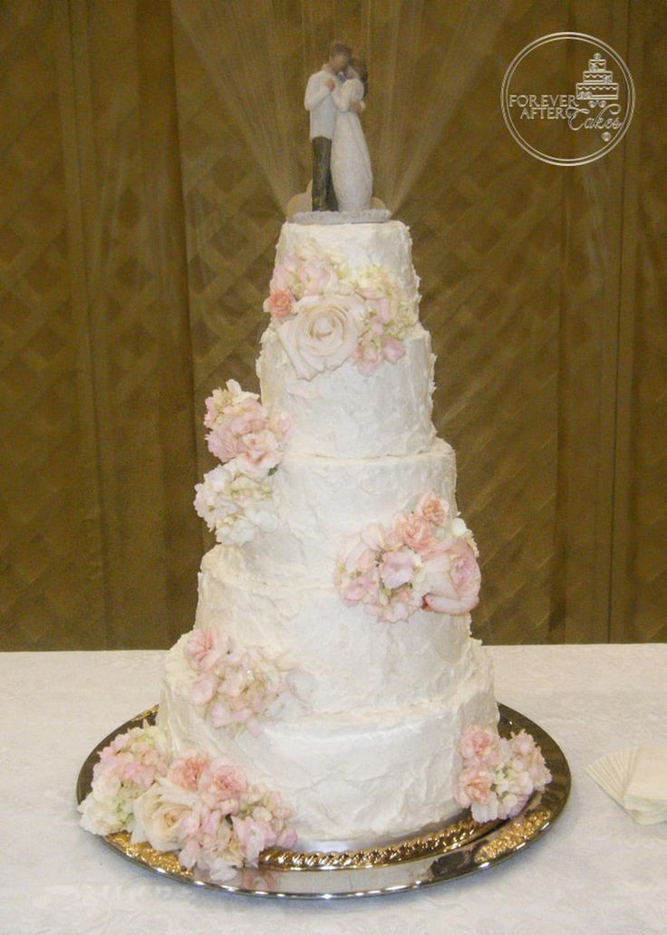 shabby chic bridal shower cakes%0A Forever After Cakes  Shabby Chic Wedding Cake with Rustic Texture and  Scattered Flowers