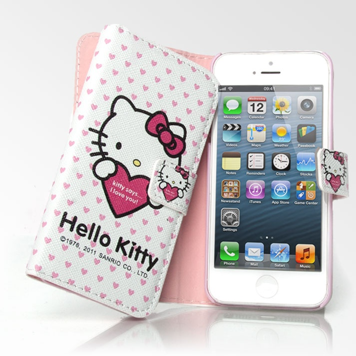 newest 8caca aa439 Cute Hello Kitty I Love You Wallet iPhone 5 Case Folio | Cute iPhone ...