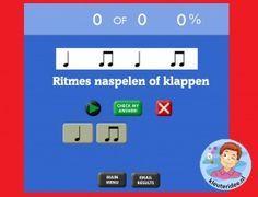 Ritmes naspelen of naklappen met kleuters op digibord of computer, kleuteridee, Kindergarten educative game for IBW or computer