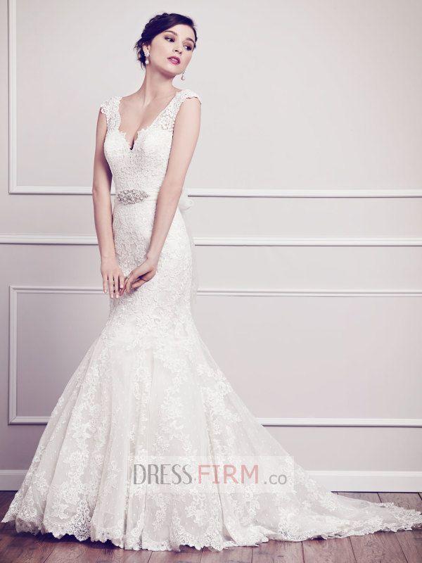 Attractive V-neck Beading Sleeveless Sheath/Column Court Train Lace Inexpensive Wedding Dress 2015 [NWD1013] - $ 289.99 :