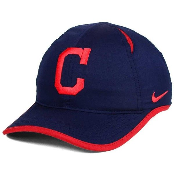 Nike Cleveland Indians Dri-fit Featherlight Adjustable Cap ($20) ❤ liked on Polyvore featuring accessories, hats, navy, major league baseball caps, mlb hats, cap hats, nike hat and nike cap