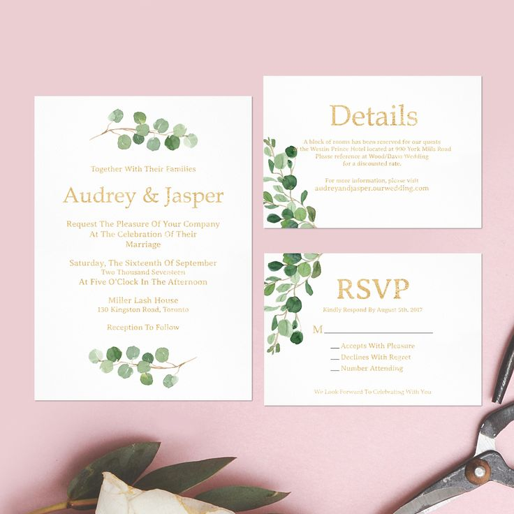 Rustic Wedding Invitation Fonts: Rustic Wedding Invitation Set,Eucalyptus Leaves Printable