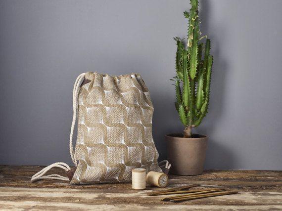 Jute Backpack Women's Printed Drawstring Bag by SCHILLERshop