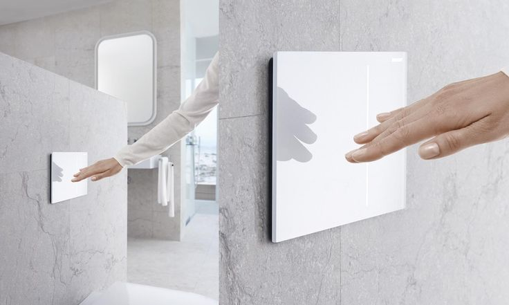 Geberit Sigma70 bedieningsplaat in wit glas past perfect in de minimalistische badkamer