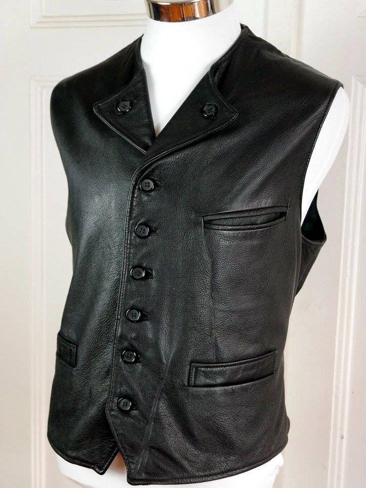 Swedish Vintage Black Leather Vest, Black Goatskin European Waistcoat, Biker Leather Vest Fully Lined w Plaid Wool: Size 44 US/UK by YouLookAmazing on Etsy