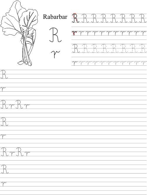 Szablon z nauką pisania litery R r