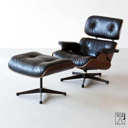 Released in 1956 after years of development by designers Charles and Ray Eames for the Herman Miller furniture company. It was the first chair the Eameses designed for a high-end market. These furnishings are made of molded plywood and leather.