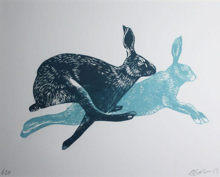 #hare  #lino  #print, #Rabbits, #Animals, Gifts, Mounted, Original #printmaking by AJ #IllustrationArt