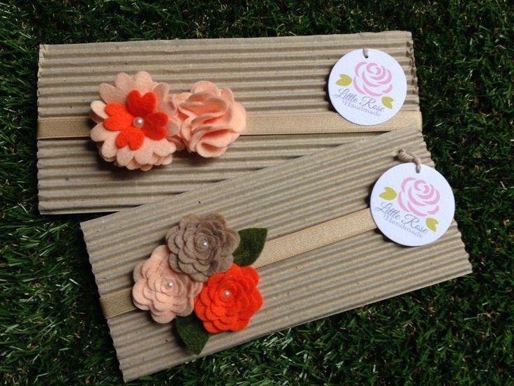 Set 2 Fasce elastiche per capelli in tono salmone, arancione e corda by Little Rose Handmade, by Romanticards e Little Rose Handmade, 11,00 € su misshobby.com