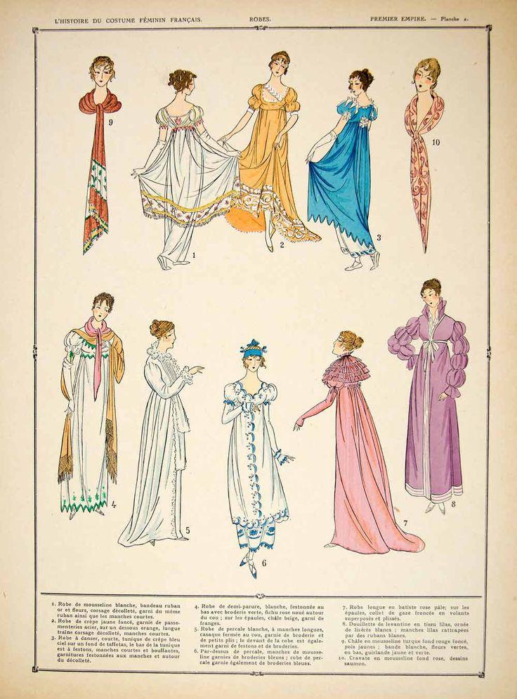1922 Pochoir Print Costume Fashion Dresses Shawl First French Empire W - Period Paper