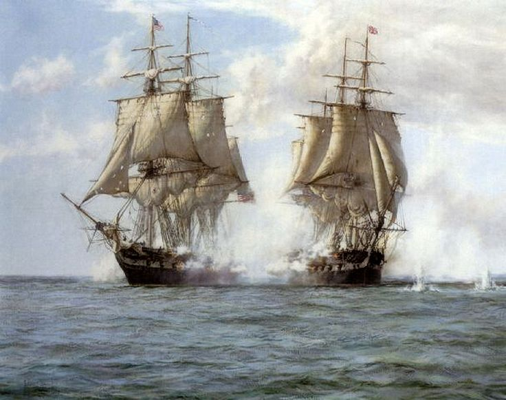 """The Action Between HMS Shannon and the USS Chesapeake, 1st June 1813"""" by Montague Dawson. The British ship would be victorious. Captain Broke boarded Chesapeake at the head of a party of 20 men. They met little resistance from Chesapeake's crew, most of whom had run below deck. The only resistance from Chesapeake came from her contingent of marines. The British soon overwhelmed them; only nine escaped injury out of 44."""
