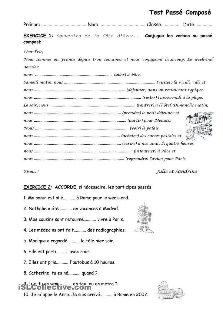 passe compose etre worksheets pdf