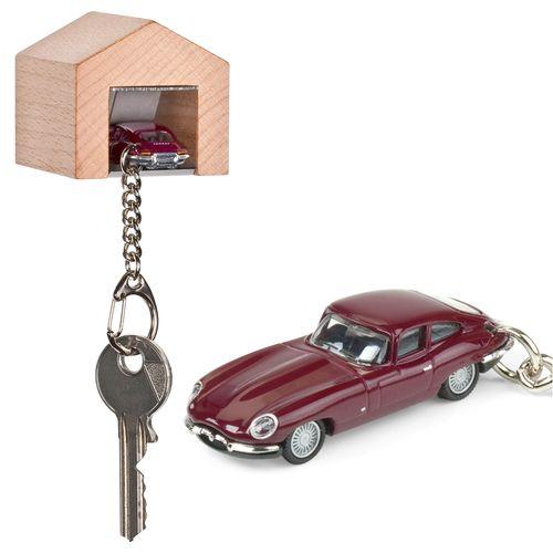 Dark Red Jaguar E Type keyring with wall mountable beech wood garage.