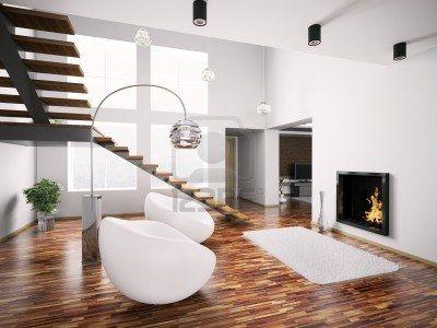 Intérieur moderne avec cheminée et escalier rendu 3d  Banque d'images - 7639336