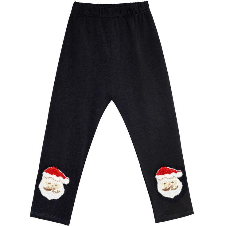 Sunny Fashion Filles Pantalon Jambières Noir Noël Père Noël Brodé