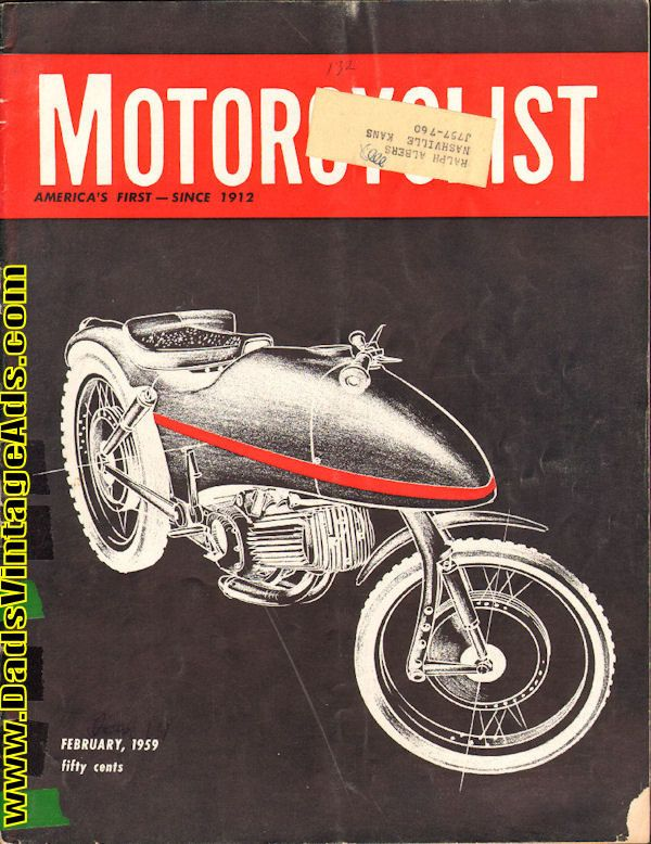 Contents: Bud Ekins winner in biggest Big Bear Run; Ariel for 1959; Yamaha 250 Road Test; Coast to Coast hop on lightweights by two Cal Tech students; Engine of the month - AJS 250; Newcomer from Norton - all-new lightweight 250; Baltimore T.T. Racing at 20 above zero; Zundapp Citation Road Test; D