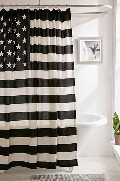 Black + White American Flag Shower Curtain
