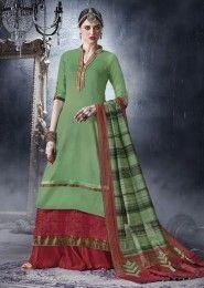 Wedding Wear Green Cotton Lace Border Work Plazzo