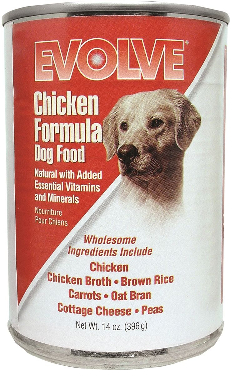 Evolve canned food formulas contain protein, carbohydrates, fats, vitamins and minerals carefully combined and slowly cooked in broth to provide a complete and balanced meal for your dog.