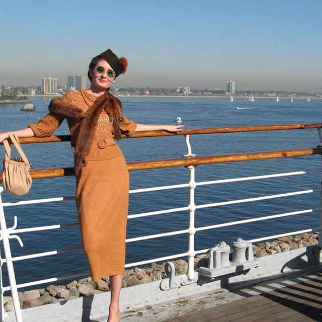 Throwback Thursday to 2006 on the Queen Mary and a vintage 1930s knit outfit I wish I hadn't sold.  #vintageclothing #1930s #1930 #queenmary #vintageoutfit #vintageknitwear