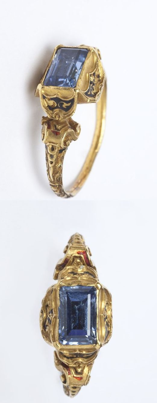 Enamelled gold ring with a table-cut sapphire in a 4-petal bezel setting, the shoulders with volutes, Western Europe, c. 1525-1575