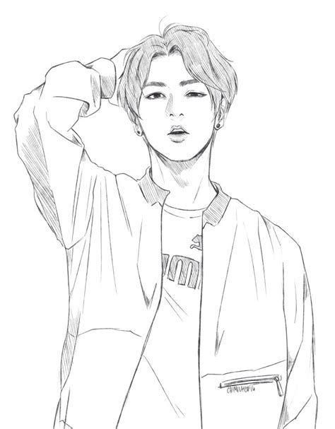 Jimin BTS Drawing Coloring Pages | Bts drawings, Kpop ...
