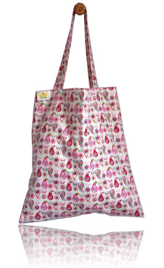Retro Pears Lined Tote Bag - Handmade in London via Etsy