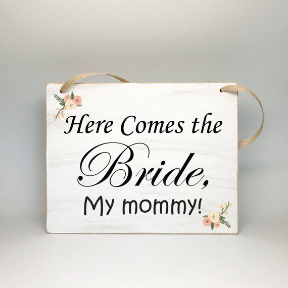 Shabby Cottage Chic Wedding Signs - Photo Props, Here Comes the Bride, My Mommy - Wedding Signs