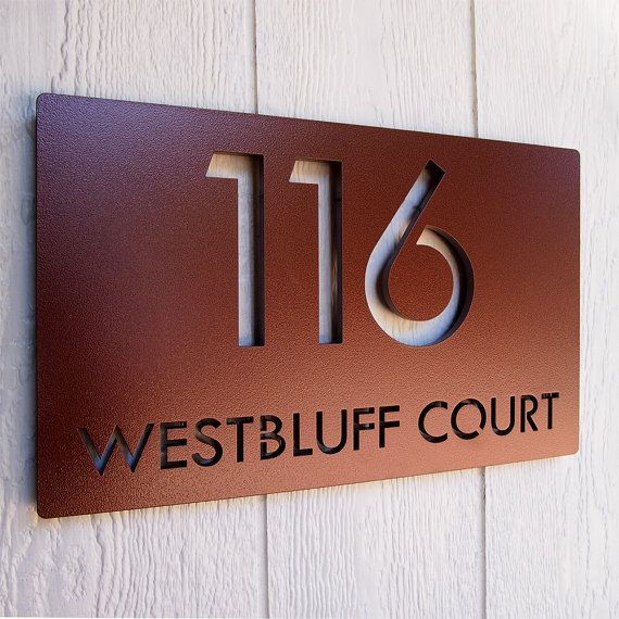 CUSTOM 18 x 11 Modern Deluxe Floating Address Sign in by ModaIndustria (in copper black color powder coated aluminum)