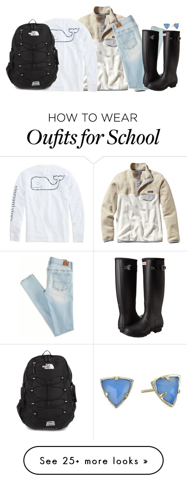 """""""preppy fall girl school outfit"""" by libster4404 on Polyvore featuring Patagonia, American Eagle Outfitters, Hunter, Vineyard Vines, The North Face and Kendra Scott"""