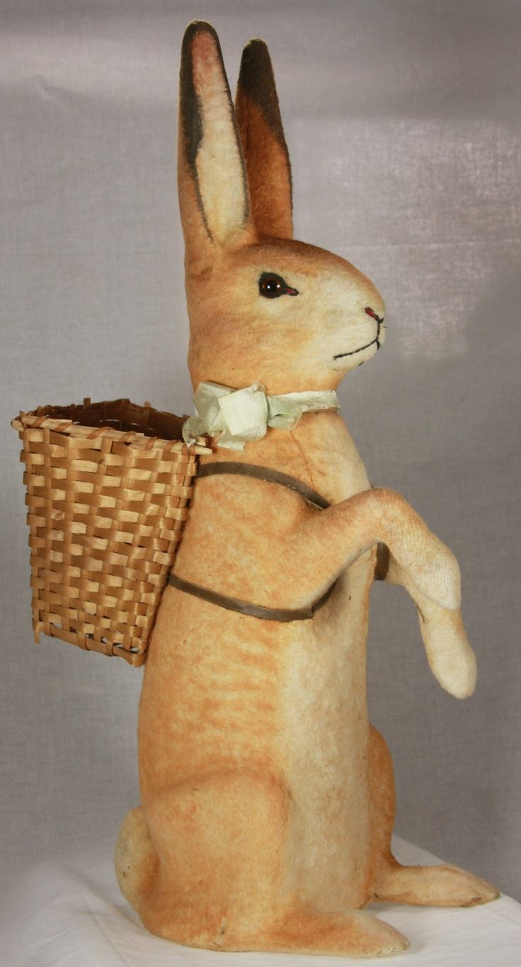 Circa 1920 Easter candy container. German.  I'll fill his basket with colorful goodies!