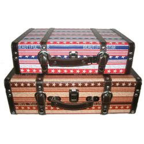 It's a MUST! NLGT1076: Features: -Set includes 2 trunks. -Material: MDF (medium density fiberboard). -Decorative. -Vintage style. -Each trunk features a stars and stripes pattern with a stripe that says Beautiful Star. -Smaller trunk has a bold red, white and blue pattern while the larger trunk has a more rustic red, white and blue pattern. Exterior Color: -Multi-colored. Distressed: -Yes. Number of Items Included: -2. Pattern: -Striped. Suitcase Construction: -Hard-sided. Exterior Material…