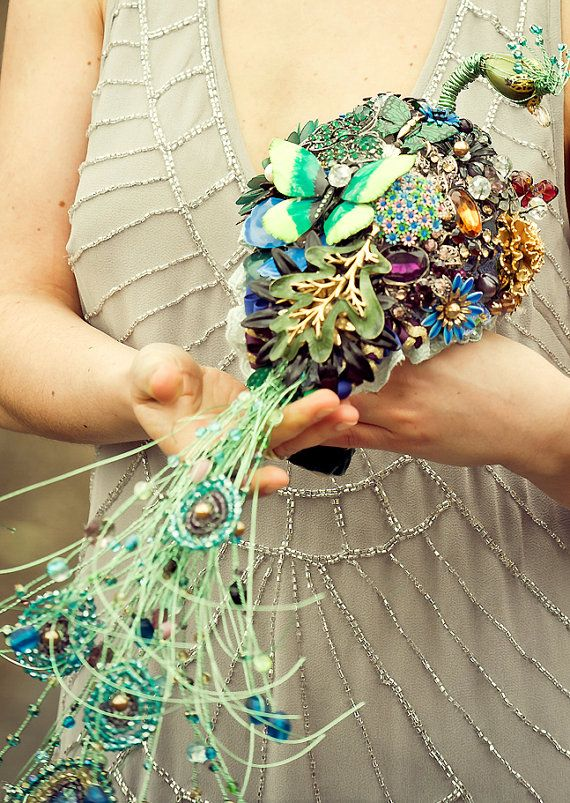 Take £50 off the listed price - please check shop announcements for coupon code!  The wedding Brooch bouquet   PEACOCK EMPRESS    Image