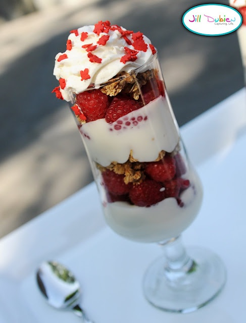 Canada Day yogurt, strawberry and granola parfait - this would also be a nice dessert with ice cream!