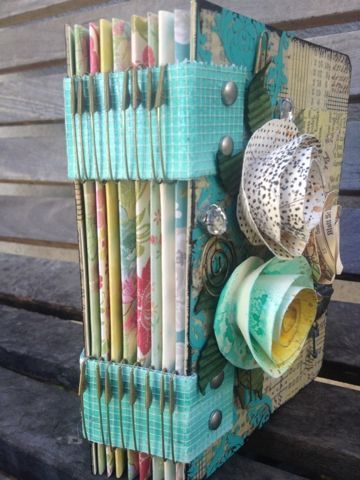 A Piece Of Craft.com: Mixed Media Journal safety pin binding. Clever!
