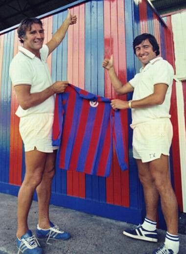 The management team , Malcolm Allison and Terry Venables, at Crystal Palace in 1975.