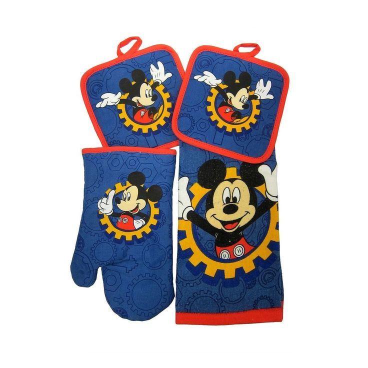 Disney Junior Mickey Mouse Clubhouse 4pc Kitchen Set Oven Mitts Pot Holder Towel #Disney